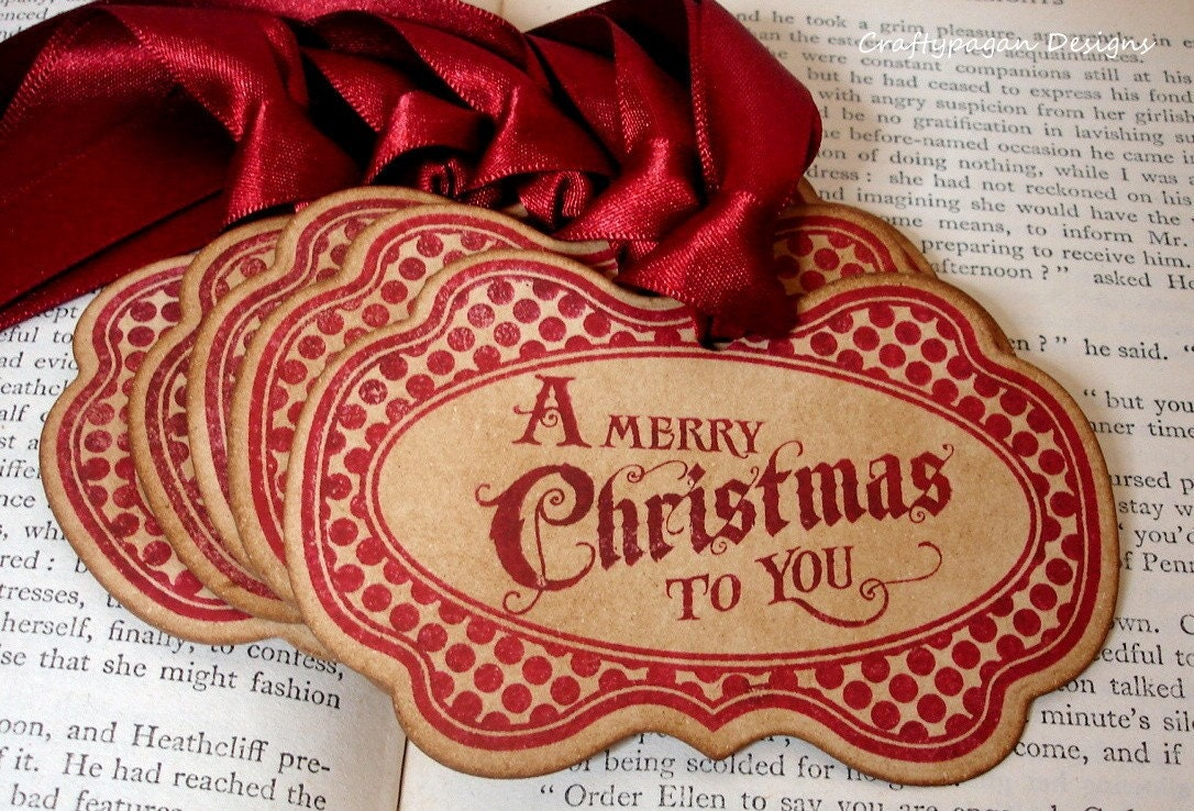 Luxury Xmas Gifts: Vintage Christmas Tags/ Gift Tags Gift Wrap In Red/ Luxury