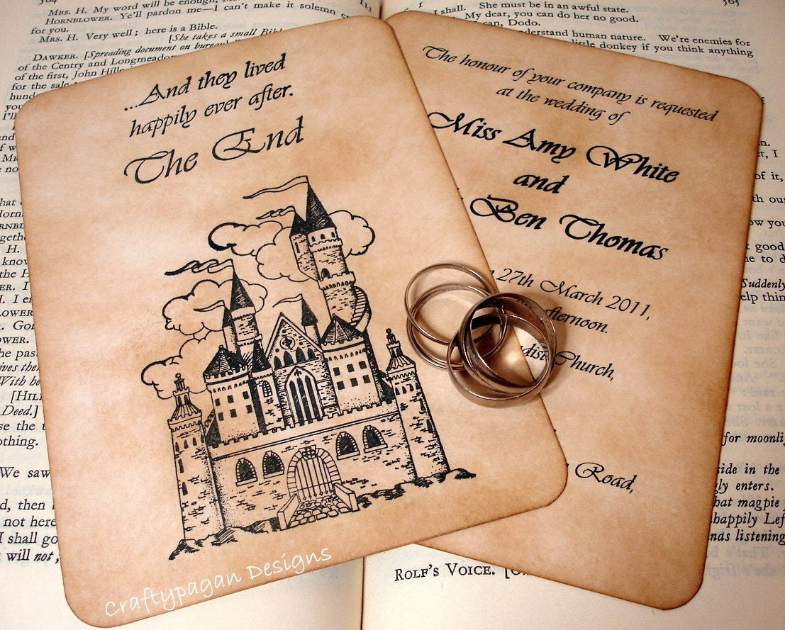 Invitation Cards For Wedding: Fairytale Wedding Invitation And RSVP Card With Envelopes And