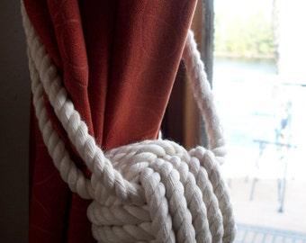 Nautical Home Decor - 4 Cotton Rope Curtain Tiebacks (2 pairs)