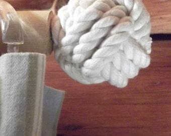 Nautical decor - 2 finials (1 set)for the Cottage, Cabin and Home - Pure Cotton - Tiebacks Available