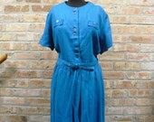 Sale 50s Turquoise Blue Shirtwaist Dress