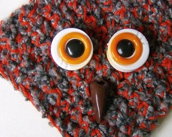 Gray and Burnt Orange Crocheted Scarf with Vintage Macrame Owl Attachments