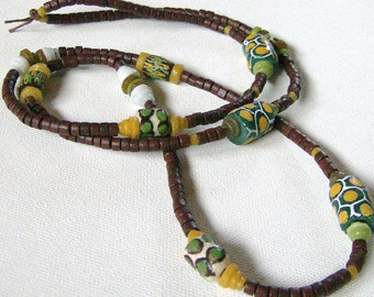 Living Wage Soul of Somanya Support Necklaces- Brown with Green/White//Yellow/Brown Krobo Beads