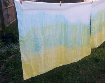 Beach Sarong in Yellow Aqua and White Cotton Vintage Linen Lot 1