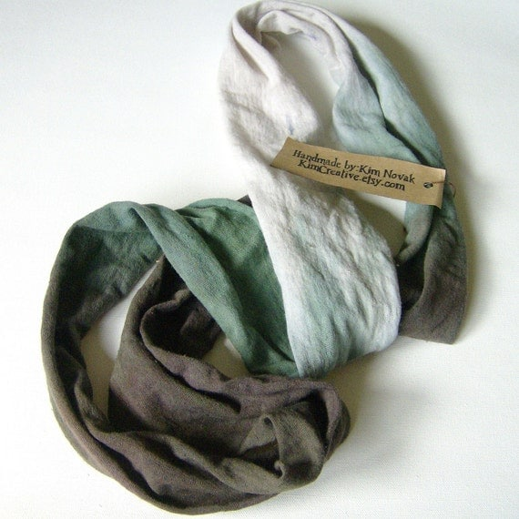 Hand Dyed Green to Brown Fade Hemp Jersey Scarf