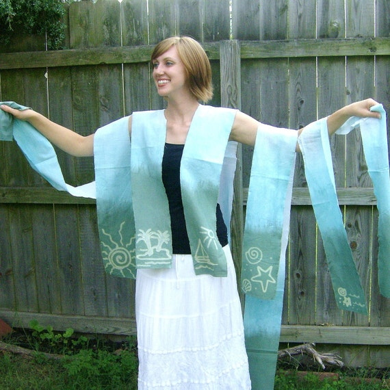 Hand Dyed Batik Sail Boat Cotton Scarf or Headwrap