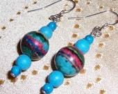 Rainbow Planet Earrings Turquoise Beaded Dangles