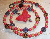Bold Red Cinnabar Butterfly Necklace with Tree Nuts and Copper