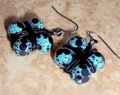 Turquoise Glass Block Womens Earrings. Hip To Be Square Wire Wrapped Handmade Dangle Earrings