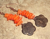 Tropical Tangerine Sunset Earrings Coral and Coconut Flower Dangles