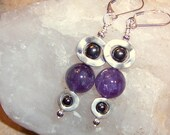 Amethyst Deco Dangles with Silver Ovals and Hematite purple spring fashion earrings