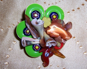 Sea Life OOAK Brooch with Conch Shell, Enameled Beads, Dolphins and Seahorses