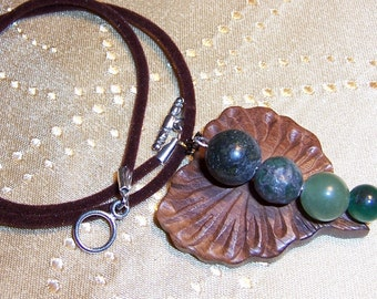 Wood Leaf Necklace with Green Caterpillar Stone on Velveteen Cord
