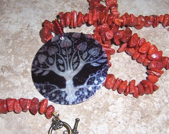 Lotus Tree of Life Necklace and Red Coral Bracelet Matching Set
