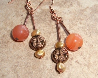 Sun and Moon Earring Dangles With Orange Agate Stones and Pearls