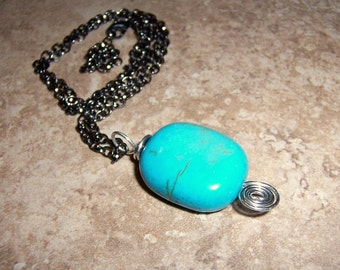 Simple Turquoise Pendant with Silver Spiral on Gunmetal Necklace Chain
