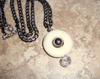 Stark Jewelry Black and White Donut Necklace Men or Women