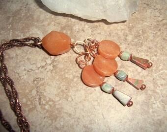 Bohemian Orange Stone Pendant Necklace with Copper Celtic Spiral and Peridot Jasper Drops