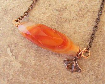 Fiery Orange Womens Necklace Agate Stone Pendant Barrel With Copper Ginkgo Leaf Charm