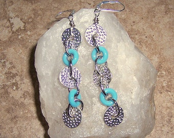 Turquoise Indie Dangle Earrings with Hammered Silver Donut Disks
