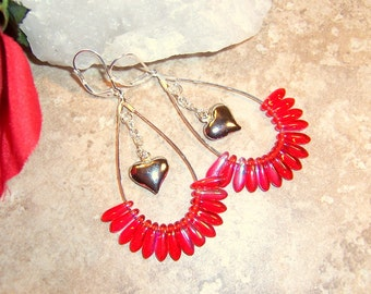 Valentines Red Womens Long Beaded Teardrop Hoop Earrings with Silver Heart Dangles