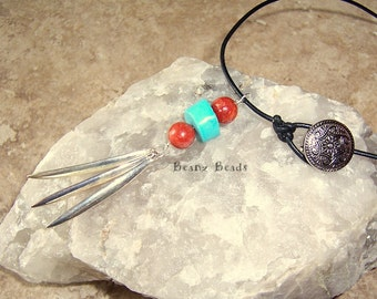 Tribal Mojo Leather Lariat Necklace Turquoise Red Coral Pendant with Silver Tassel
