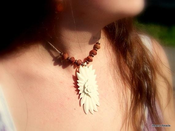SALE Bohemian Flower Carved Bone Choker Silk Cord and Copper Bali Beads