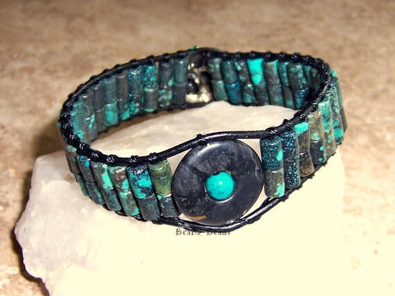 SALE Snake Charmer Leather Wrap Bracelet Turquoise Teal Black Beaded Cuff