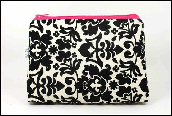 Keep it Classy: Damask and Pink Cosmetic Bag/Clutch/Purse Organizer