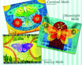Colorful Moths Greeting Card Set of 3