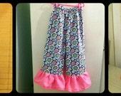 Girls Pants Pattern PDF Sewing Pattern...Wide Leg Ruffle Bottom Pants  sizes 6 to 10 Easy Sew,girls