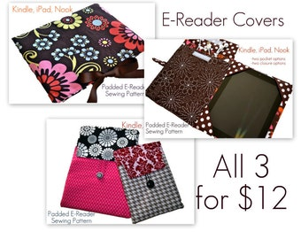 "E-Reader Cover Pattern Bundle, PDF Sewing Patterns, Cover, Sleeve, Clutch, iPad, iPad Mini, Kindle Fire, ""3 Cover Pattern Styles for 12.00"""