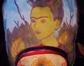 Blue Frida with Virgin of Guadalupe pocket