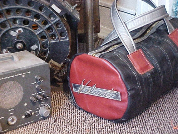 Railroad Bag Made From Bike Tubes and Leather With Valiant Car Emblem by Thingsbuilt