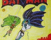 Batman comic sketch by T Pence