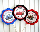 Cars Birthday Party - Cupcake Toppers - Set of 24