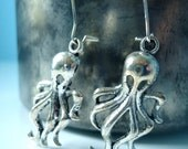 Cthulhu - Long Charm Earrings on Sterling Plated Kidney Style Hooks