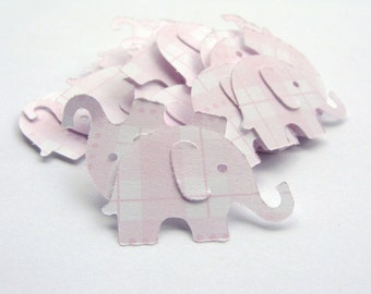 100 Pink Plaid Elephant Punches
