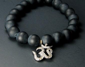Diamond OM Mala Bracelet, Black Onyx- Abundance Love- APRIL birthstone , Yoga Inspired Jewelry , Om Jewelry, Ohm, Aum,Ohm,