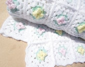 Baby Bedding Crochet Blanket with Flowers in any color