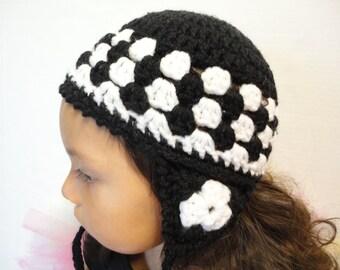 Winter Hat / Childs Hat / Ear Flap Hat / Crochet Hat / Toddler Hat / Granny Square Hat / Baby Hat / Crochet Hat / White Hat / Black Hat