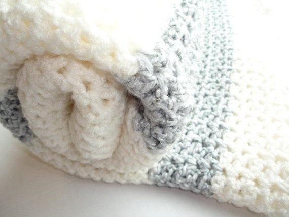 Crochet Blanket in Gray and White (Ready to Ship)