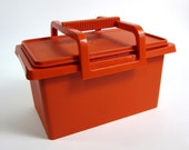 Orange TUPPERWARE Lidded Storage Container with Removable Handle