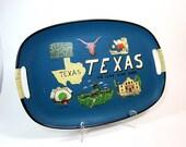 Teal TEXAS Souvenir Serving Tray 60s