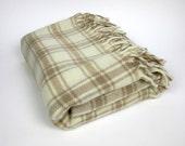 Large Faribo Wool Blanket / Cream and Brown Plaid / 50 x 64
