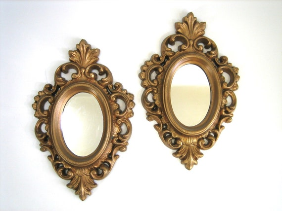 Pair of small gold ornate burwood framed mirrors 60s for Small gold framed mirrors
