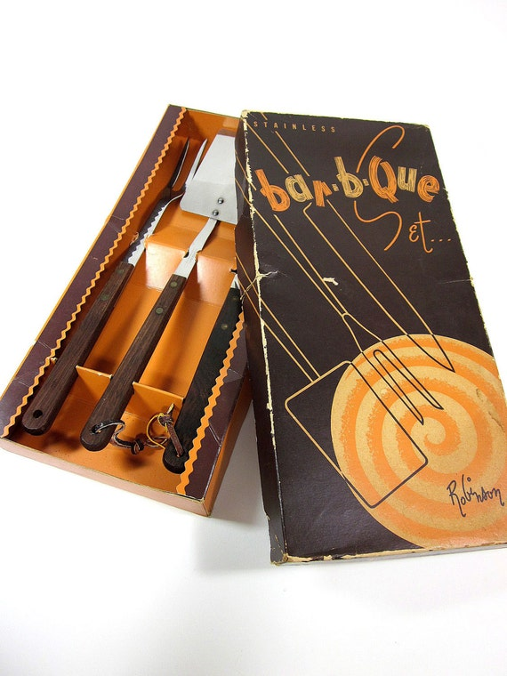 sale / Robinson Knife Company Stainless Bar-B-Que Set in Original Box 60s / Like New