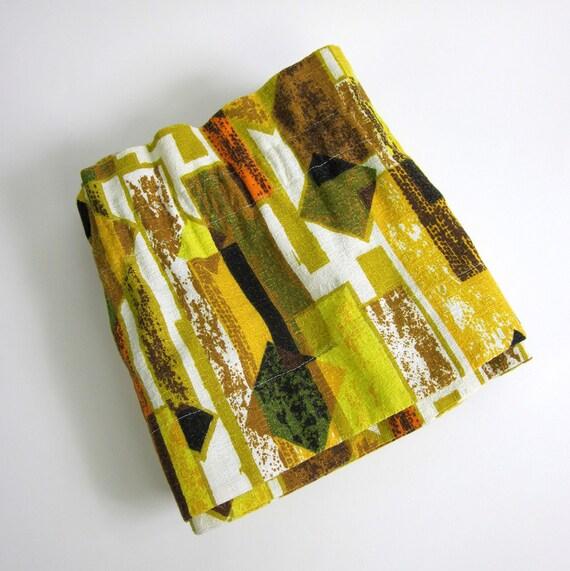 Eames Era Hand Sewn Abstract Barkcloth Valence / Set of 2 with Tiebacks / Repurpose Vintage Barkcloth