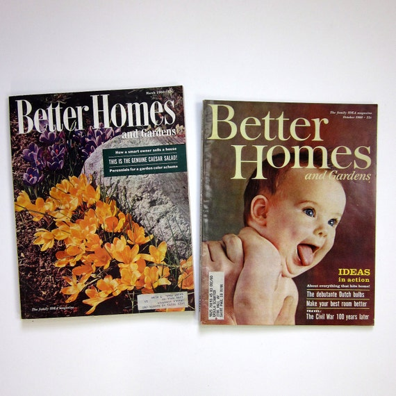 Better Homes and Gardens Magazine 1960 /  2 Issues featuring Atomic Home Decor and Retro Ads