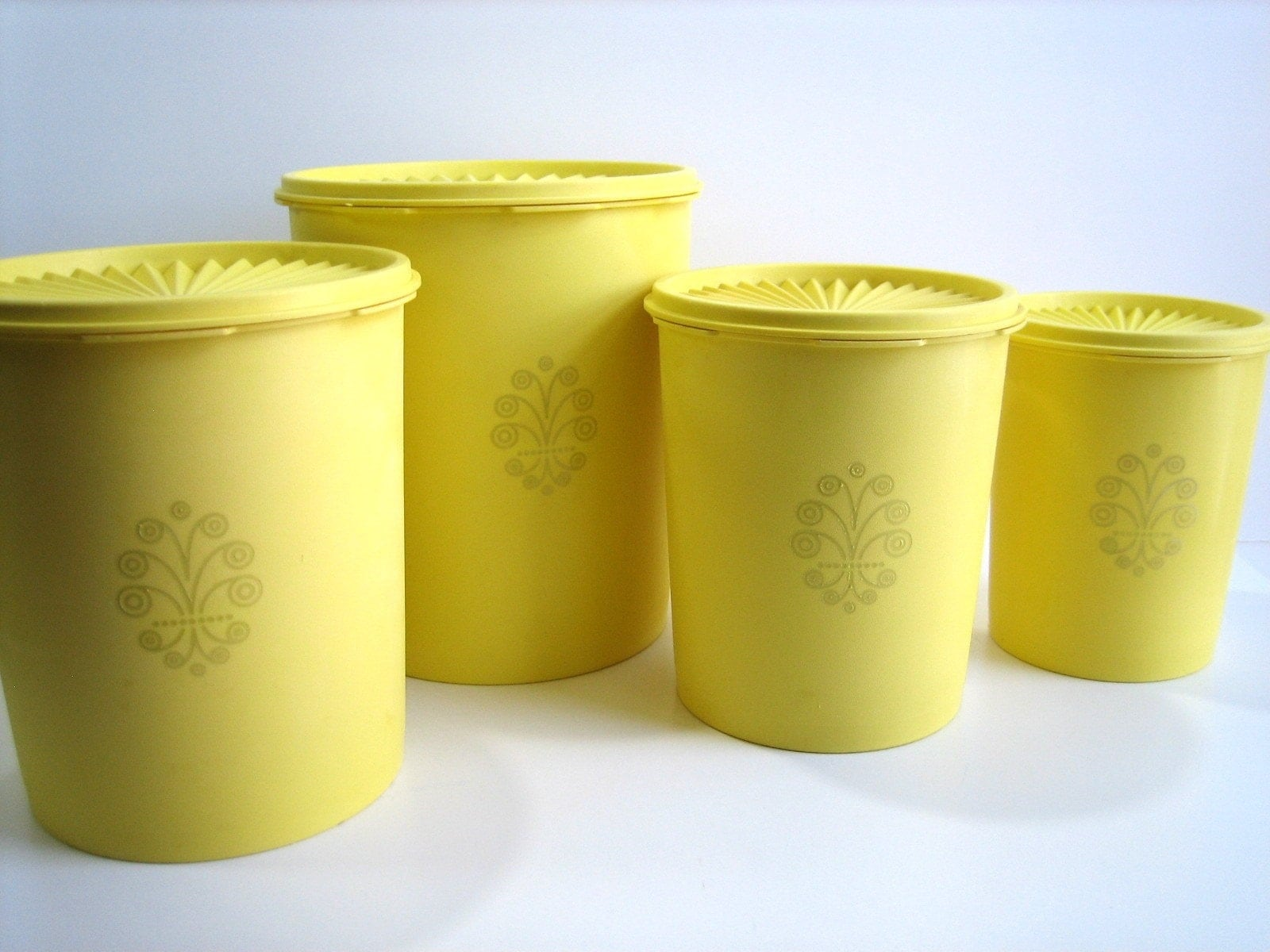 70s lemon yellow tupperware canister set by attysvintage on etsy